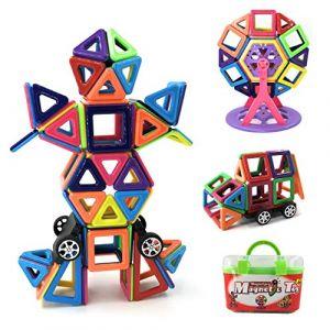 Bloc de Construction Magnétique Enfant 108 Pièces, Mini Jeux Construction Aimanté Jouet Educatif et Créatif, Cadeau Anniversaire Fête pour Les Petits (108 Pièces) (MagnetproA, neuf)