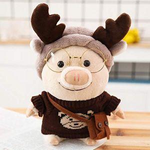Petit cochon en peluche jouet créatif poupée mignon cochon poupée Saint Valentin cadeau-petit ours pull_25cm (lizhaowei531045832, neuf)