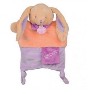 Doudou et Compagnie - Peluches et Doudous - Doudou marionnette Lapin - Collection : Petit Secret - Peluche bébé 25 cm - étiquette Bisous - Violet parme et orange - Genre : bébé fille (Grandir et Réussir !, neuf)