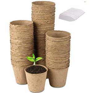 LATERN 100 Petits Pots de semis en Fibre biodégradable de 8 cm, avec 100 étiquettes Blanches en Plastique de 1 x 5 cm (QINGJIN-EU, neuf)