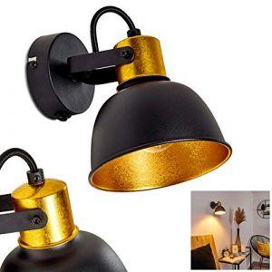 Applique murale Blackburn en métal noir et or, spot orientable avec interrupteur intégré pour une ampoule E14 max. 25 Watt, compatible ampoule LEDs (hofstein, neuf)