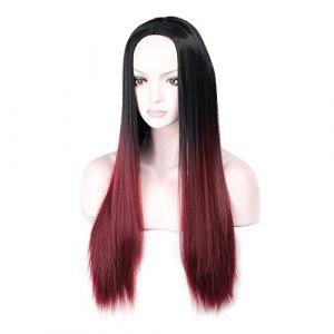 Gradient perruque dame perruque cheveux raides perruque noir vin perruque rouge haute température perruque en fibre chimique de soie perruque européenne et américaine (petrichor87, neuf)