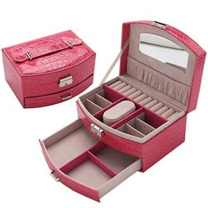 Organisateur de boîte à bijoux Organisateur de boîte à bijoux de voyage haut de gamme pour filles/femmes Coffrets-cadeaux portables fins pour filles (Couleur: rose) (Xianmin, neuf)