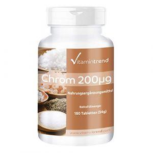 Chrome 200µg - Picolinate de Chrome - 180 comprimés - ! POUR 6 MOIS ! – Végan – Flacon avantageux (Vitamintrend, neuf)