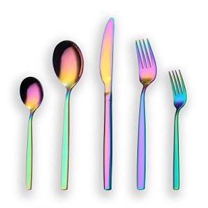 Berglander 30 pièces titane arc-en-couleur plaqué ensemble de couverts, ensemble de coutellerie colorée, service pour 6 (arc-en-ciel brillant) (Berglander Houseware, neuf)