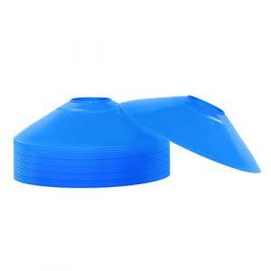 Reehut Set de 25 Cône de Marquage, Assiette de Marquage Plots de Marquage-Conçu pour créer des exercices d'entrainement de football soccer, Cones de signalisation, Idéales pour délimiter une zone (bleu) (Reehut Fit, neuf)