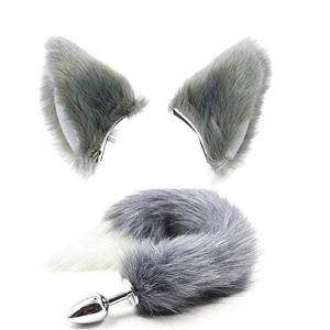 Serre-tête et queue de chat pave oreilles de renard en fourrure pour Halloween Cosplay Costume pour elle Gris (Pavian, neuf)
