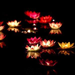 Lumière flottante Uonlytech LED, lumière de bassin à fleurs de lotus, lumière de piscine Lotus pour étang de piscine (orange) (Vivinacy, neuf)