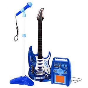 Guitare acier enroulement - la première guitare - un jouet pour un enfant en bas âge - amplificateur - bleu (e-bsd, neuf)