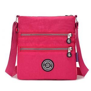 Outreo Sac Porté épaule Femme Sac bandoulière Léger Sac Besace Imperméable Voyage Sac à Main Loisir Fille Sacoche de Mode pour Sport Bag, rouge 2, Medium (Foino, neuf)