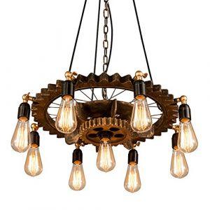 Lustre Industriel Bois Retro Suspension Industrielle Luminaire Vintage Salon Réglable Rotatif Cuisine Lampe Plafond pour E27 Lampe (JLARS Lighting Mall, neuf)