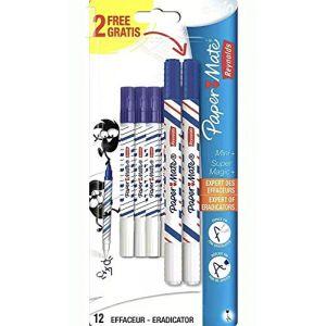 Paper Mate 1863014 10 Mini + 2 Super Magic Effaceur Blanc/Bleu (ma papeterie, neuf)