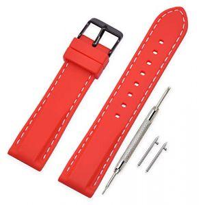 Vinband Bracelet Montre Quick Release Remplacer Silicone Bracelet Montre - 18mm, 20mm, 22mm, 24mm Caoutchouc Montre Bracelet avec Acier Inoxydable Boucle (18mm, Red) (vinband direct, neuf)