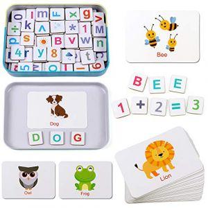 Lewo Lettres et Chiffres Magnétiques Aimants de Réfrigérateur ABC Alphabet en Bois Cartes Flash Orthographe Jeu de Comptage Jouets Éducatifs Préscolaires pour 3 4 5 6 Ans Enfants Garçon Fille (Educotoys, neuf)