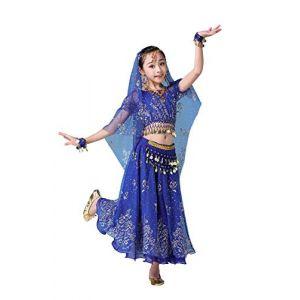FEOYA Robe Costume Danse Orientale Enfant Déguisement Orientale Danseuse Fille Déguisement Bollywood Indienne Fille Belly Dance Carnaval Cosplay 5-8 Ans Bleu (GAOCHENGEU, neuf)