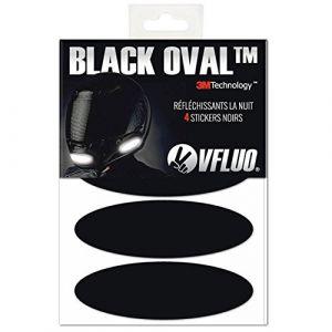 VFLUO Black Oval™, Kit 4 Stickers rétro réfléchissants pour Casque Moto, 3M Technology™, Noir (VFACTORY, neuf)
