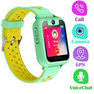 Montre Telephone Enfant - Smartwatch GPS LBS Tracker avec Caméra Jeux Lampe de Poche Pédomètre pour Garcon Fille Compatible avec Les Smartphone Android iOS (GPS, Green) (PTHTECHUS, neuf)