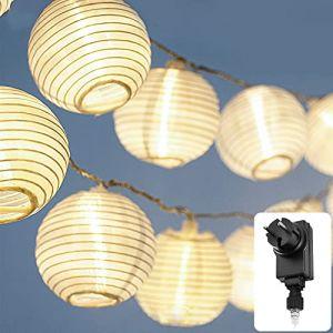 Guirlande lumineuse LED Lampion lampe deco CozyHome - Lanterne en papier blanc kraft - Longueur totale 5,5 mètres | 15 LED boules blanches | Fourni avec prise à brancher sur le secteur (LEHARO, neuf)