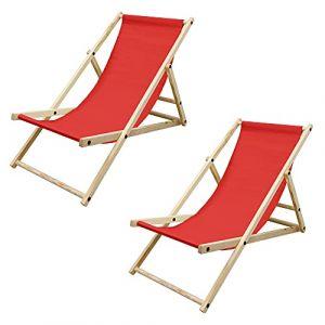 ECD Germany Lot de 2 Chaise Longue en Bois de Pin - Rouge - Pliable - 120 kg - Réglable à 3 Positions - Bain de Soleil - Intérieur et Extérieur - Fauteuil Relax de Plage Jardin Balcon Terrasse (ECD-Germany, neuf)