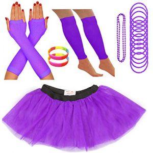 Redstar Fancy Dress - Tutu/guêtres/Mitaines résille/Collier de Perles/Bracelets en Caoutchouc/Bracelets Fluo - Violet - 42-50 (Redstar Online, neuf)