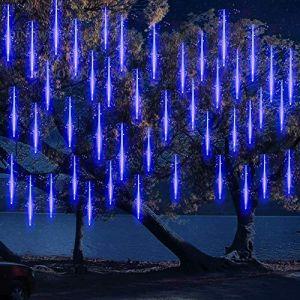 10 Tubes 30CM LED Météore Pluie Lumineuses Guirlandes Solaire ,DINOWIN Lumineux Etanche Extérieur Douche Pluie Feux pour Noël Mariage Fête Soirée Maison Arbre Sapin Jardin (Bleu) (DinowinDirect, neuf)