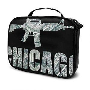 Sacs à cosmétiques pour les femmes voyagent, Chicago Illinois, armes à feu et argent, fond noir. Trousse (Helen vi, neuf)