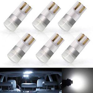 6 Pcs T10 Ampoule Led de Voiture Lampe,194 168 501 W5W Wedge 24V Pour Voiture Auto IntéRieur DôMe Carte CôTé Marqueur Instrument De Plaque D'Immatriculation Ampoules Lampe,Blanc (jose201606, neuf)