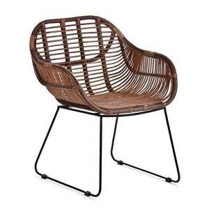 Animal Design Fauteuil Chaise de jardin en rotinÂ–Salon de balcon terrasse Chaise PanierÂ–Robuste avec accoudoirs (DasTierDing, neuf)