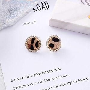 La mode Boucles d'oreilles en alliage hiver léopard boucles d'oreilles rondes pour les femmes tempérament strass géométrique boucle d'oreille (boxuejiaoyu, neuf)