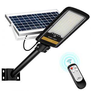 Lampes solaires extérieures 80W, lampadaire solaire avec télécommande pour l'éclairage public, terrain de basket, parking extérieur 6000K IP66. (Oslar, neuf)