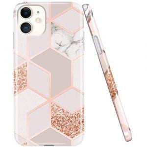 Jaholan Coque iPhone 11 Coque TPU Gel Housse Etui Protection Ultra Fine Mince Léger Case Souple Coque pour iPhone 11 6.1 Pouce - Marbre Design Rose Gold (RXKEJIEU, neuf)