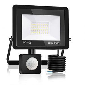 Blivrig Projecteur LED détecteur de mouvement 30W,3000LM IP66 Imperméable Spot LED Extérieur Puissant,Blanc Chaud(3000K) eclairage exterieur led pour Jardin Terrasse Garage Patio Grange Cour (Fourtry, neuf)