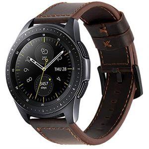 iBazal 20mm Bracelet Cuir Libération Rapide Bandes Strap Compatible avec Samsung Galaxy Watch 42mm/Active 40mm/Gear S2 Classic/Sport Band Remplacement pour Huawei 2,Ticwatch 2/E Homme - Café Chocolate (ibazal, neuf)