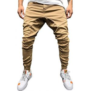 Tomwell Homme Pantalon Casual Cargo Chino Jeans Sport Jogging Slim Fit Pantalon Coton Kaki X-Small (Joke and I, neuf)