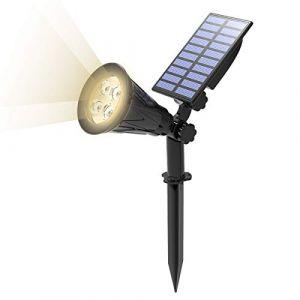 T-SUN Lampe Solaire Extérieur, Solaire Projecteur, Extérieur sans Fil Etanche IP65 Lampe Jardin avec 180° Réglable Spot Solaire Extérieur pour Jardin, Cour, Chemin, Allé. (4000K Blanc Natuiel) (T-SUNLED, neuf)