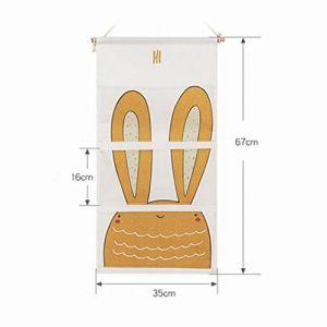 Ieve Tissu de coton Sac de rangement mural Porte de placard à suspendre Sac de rangement, organiseur à suspendre avec poches, Sac de rangement pour chambre d'enfant/porte, Sac de rangement organiseur (Happy-home, neuf)