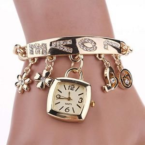 Montre Fille 1pc Mode Femme Amour Strass chaîne Montre Filles Lady Bracelet Montre-Bracelet en Or Bling Montre Carrée Goutte Ajustable (Color : Gold) (liuqiang shop, neuf)