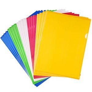 FEPITO 20 Pack A4 Zip Document Dossier Pochette Flush Folders Dossier en Plastique Porte-Documents Couleurs Assorties (KUUQA DIRECT, neuf)