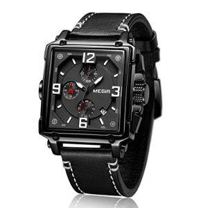 MEGIR Montre Rectangulaire Homme Carré Analogique Quartz pour Hommes avec Bracelet en Cuir Noir (Faerduo Watch Store, neuf)