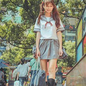 BCOGG Costume de marin japonais Cosplay Costume à manches courtes JK Femme étudiante Uniforme scolaire British Navy Style Fille Vêtements C38176AD S (chengduqinlanshangmaoyouxiangongsi, neuf)
