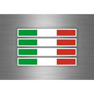 4x Autocollant sticker voiture moto italie italien drapeau tuning auto italia (Akachafactory, neuf)