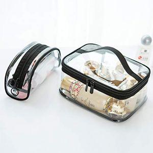Trousse de toilette transparente, trousse de voyage, trousse de toilette imperméable, noire (A) (black yu, neuf)