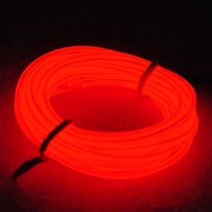 EL Tube électroluminescent léger au néon Lumination de fil d'EL de 9ft / 3m à piles de fils d'électroluminescence Décoration Noël, intérieur, mariage, Halloween(Rouge) (San Jison, neuf)