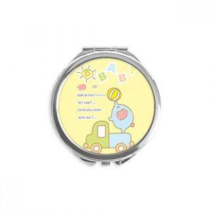 DIYthinker camion cartoon bébé boule éléphant animal miroir rond maquillage de poche à la main portable 2,6 pouces x 2,4 pouces x 0,3 pouce Multicolore (bestchong, neuf)