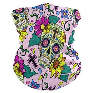 QMIN Bandeau Tête de mort en sucre Motif Fleur Bandana Visage Soleil Protection Masque Cagoule Magique Cagoule pour Femmes Hommes Garçons Filles (QMIN, neuf)
