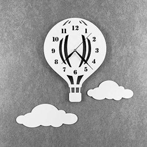 BABEES Horloge murale pour chambre d'enfant, silencieuse et silencieuse avec nuages, horloge sans tic-tac pour chambre d'enfant, mécanisme de montre, décoration murale Scandi (BaBees, neuf)
