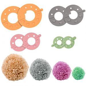Ensemble 4 Pièces dÂ'Appareils à Pompons en Plastique par Curtzy – Kit dÂ'Appareils à Pompons à Faire Soi-Même 4 Tailles à Utiliser avec Laine ou Fil – Meilleur Kit à Pompons pour Adultes & Enfants (Kurtzie - Expédition rapide, neuf)