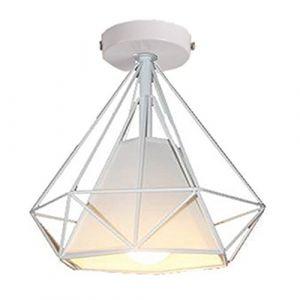 STOEX Retro Plafonnier Industrielle Cage en forme Diamant en Métal Fer Lustre Suspension Luminaire pour Salon Salle Chambre Décorer Maison Cuisine (Blanc) (STOEX, neuf)