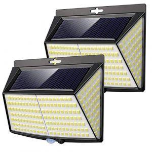 Lampe Solaire Extérieur,Vighep 228 LED [ 2 Packs] Lumiere Solaire Exterieur Detecteur de Mouvement led éclairage Solaire Extérieur étanche Sans Fil Spot Solaire Lumière Puissant Sécurité pour Jardin (ZXH-EU, neuf)