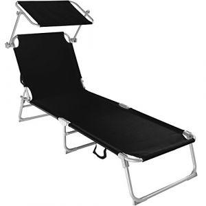 TecTake Chaise Longue Pliante Bain de Soleil avec Parasol Pare Soleil - diverses Couleurs et quantités au Choix - (1x Noir | No. 400655) (Made4Home SAS, neuf)